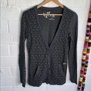 Volcom Checkered V neck Button Up Cardigan sz S
